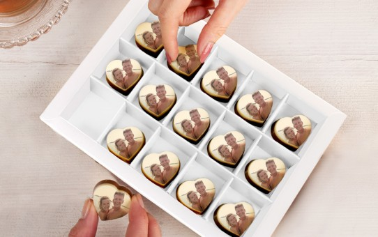 chocolats personnalises photo forme coeur
